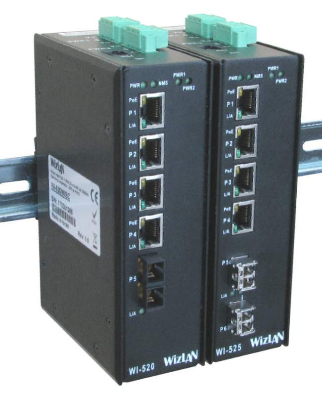 Industrial/Outdoor DIN rail Switches WI-520/525