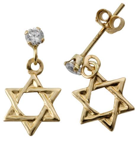 לקנות עגיל זהב מגן דוד עם אבן זרקוניה