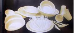סט כלים חד פעמיים צבעוני ( קרם )